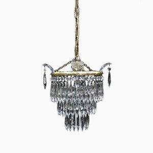 Lámpara de araña italiana Art Déco de cristal con tres niveles, años 30