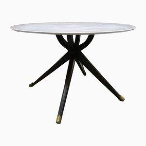 Italienischer Esstisch aus Holz & weißem Marmor, 1950er