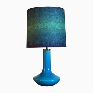 Vintage Scandinavian Turquoise Glass Table Lamp, 1960s
