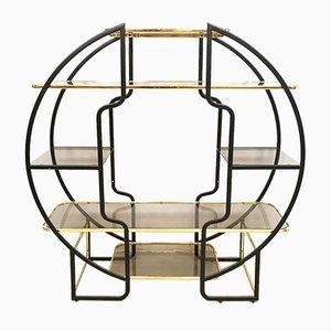Estantería italiana vintage de latón y vidrio, años 70