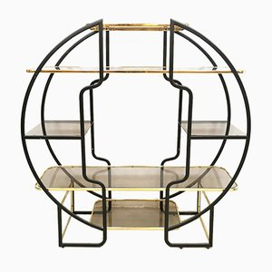 Vintage Italian Brass & Glass Shelving Unit, 1970s