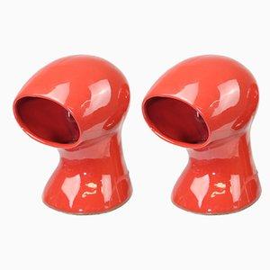 Tischlampen aus rot glasiertem Porzellan, 1960er, 2er Set