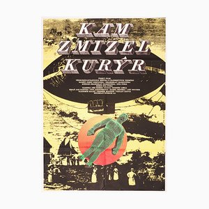 Vintage Czech Where the Currier Disappeared Movie Poster by Karel Vaca, 1981