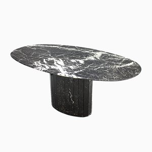 Italian Black Oval Marble Dining Table, 1970s