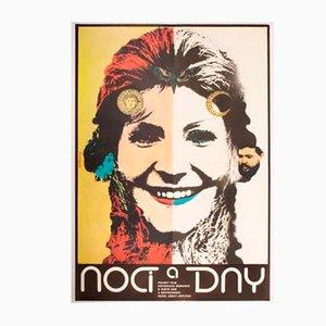 Poster del film Nights and Days vintage di Karel Vaca, Repubblica Ceca, 1976