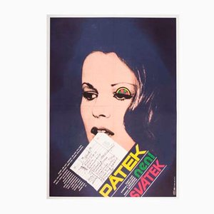Poster vintage del film Friday Is No Holiday di Karel Vaca, Repubblica Ceca, anni '80