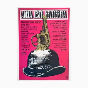 Poster vintage del film Adele Hasn't Had Her Dinner Yet di Karel Vaca, Cecoslovacchia, 1977