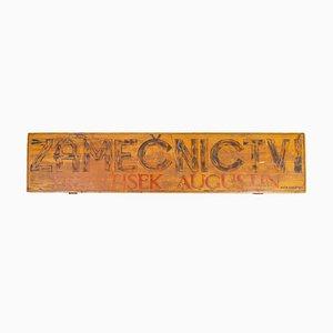 Señal publicitaria de cerrajero industrial vintage de madera, años 30