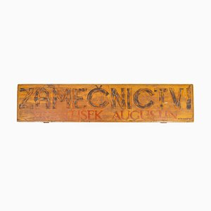 Vintage Industrial Wooden Locksmith Sign, 1930s