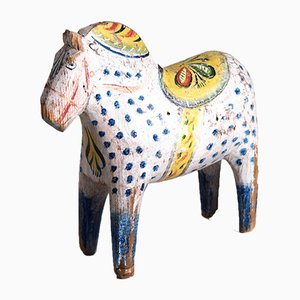 Antique Swedish Painted Dalarna Horse