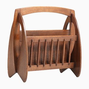Art Deco Dutch Oak Magazine Rack by Paul Bromberg for H. Pander & Zn., 1920s