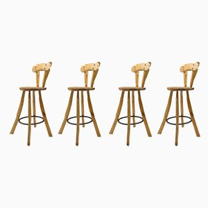Iron and Wood Bar Stools, 1960s, Set of 4