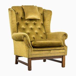 Vintage Velvet Wingback Armchair, 1940s