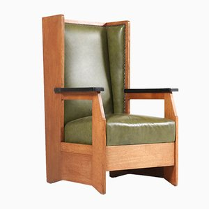 Art Deco Dutch Oak Wingback Chair by Hendrik Wouda for H. Pander & Zn., 1924