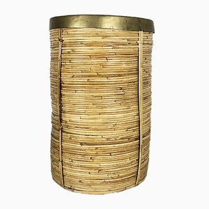 Mid-Century French Rattan and Brass Waste Paper Bin, 1960s