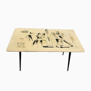 Tavolino Mid-Century dipinto a mano, Italia