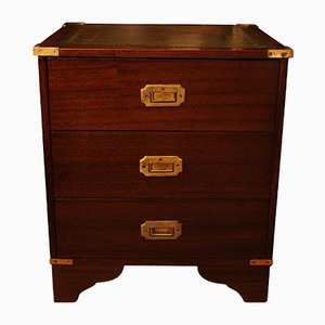 Vintage Brass & Mahogany Campaign Chest, 1920s