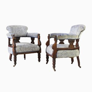 Antique Mahogany Upholstered Tub Armchairs, Set of 2