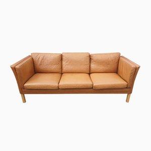 Sofá de tres plazas danés de cuero marrón, años 70