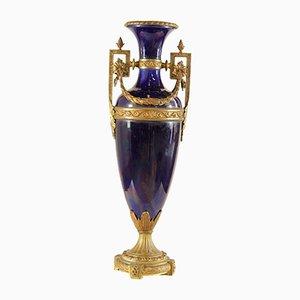 Antike kobaltblaue französische Vase