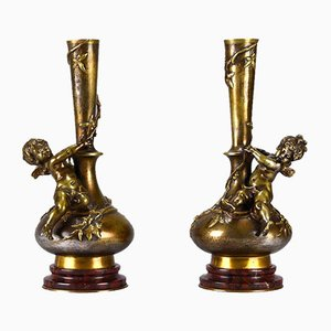 Antique Sculptural Cherub Vases by Auguste Moreau, Set of 2