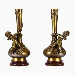Skulpturale antike Cherub Vasen von Auguste Moreau, 2er Set