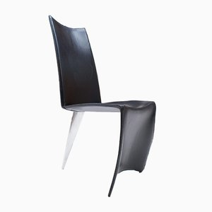 Ed Archer Leather and Polished Aluminum Dining Chair by Philippe Starck for Driade, 1990s