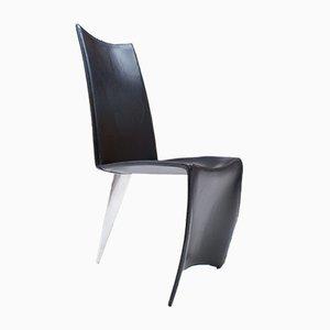 Sedia da pranzo Ed Archer in alluminio lucido e pelle di Philippe Starck per Driade, anni '90