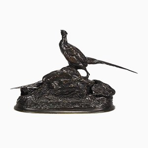 Antique Pheasants Sculpture by Auguste Cain
