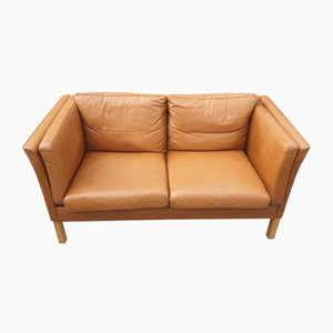 Danish 2 Seater Brown Leather Sofa, 1970s