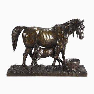 Antike Stute und Fohlen Skulptur von Christopher Fratin