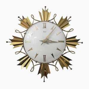 Brass Wall Clock, 1940s