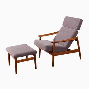 Juego de sillón y otomana modelo FD 164 de Arne Vodder para France & Søn, años 60