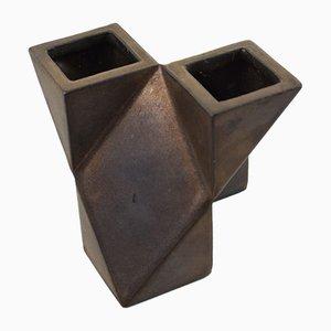 Constructivist Bronze Glazed Vase by Jan van der Vaart, 1979