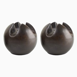 Vintage Bronze Glazed Ceramic Candleholders by Jan van der Vaart, 1979, Set of 2
