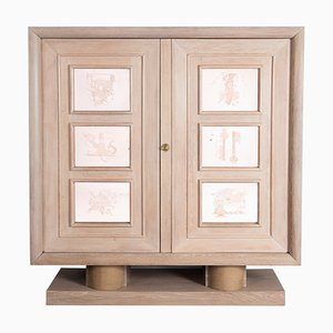 Art Deco French Oak Veneer & Mirrored Glass Cabinet, 1930s