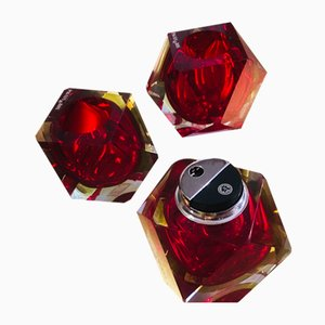 Red Sommerso Murano Glass Lighters, 1950s, Set of 3