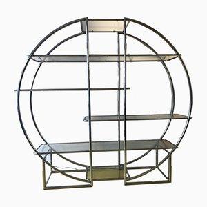 Mueble de pared de cromo y vidrio, años 60
