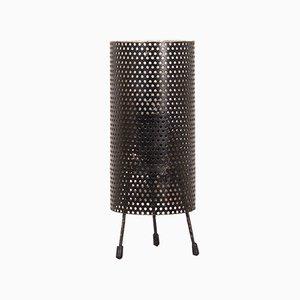 Lámpara de mesa holandesa Mid-Century pequeña de metal perforado negro, años 60