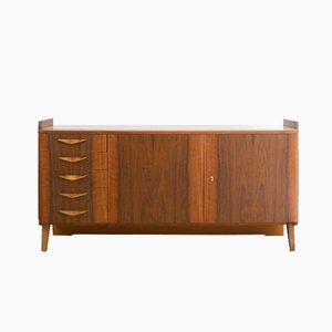 Mid-Century Walnut and Glass Sideboard