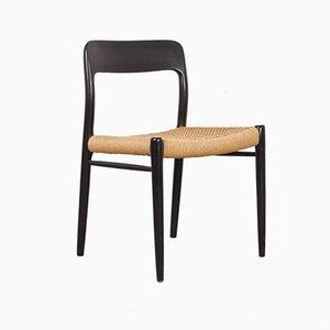 Skandinavischer Vintage Modell 75 Stuhl aus schwarzem Teak & Sitzfläche aus Papierkordel von Niels Otto Møller für JL Møllers, 1960er