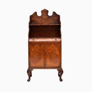 Burr Walnut Open Bookcase Cabinet, 1930s