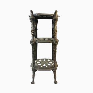 Mid-Century Cast Iron 3-Tier Side Table