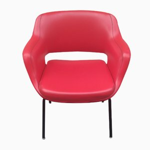 Red Leather Armchair by Olli Mannermaa for Cassina, 1970s