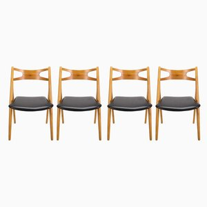 CH29 Sawbuck Dining Chairs by Hans Wegner for Søborg Møbelfabrik, 1960s, Set of 4