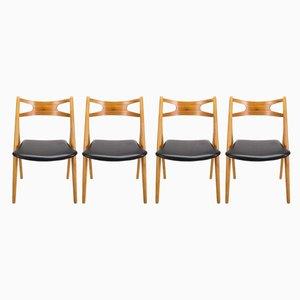 Chaises de Salle à Manger CH29 Sawbuck par Hans Wegner pour Søborg Møbelfabrik, années 60, Set de 4