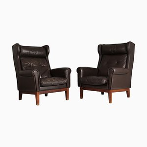 Scandinavian Leather Club Chairs, 1970s, Set of 2