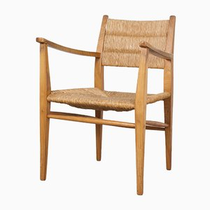 Deutscher Mid-Century Stuhl mit Gestell aus Eiche & Sitzfläche aus Papierkordel