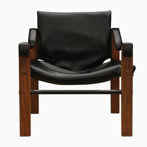 Mid-Century Black Vinyl & Teak Safari Chair by Maurice Burke for Arkana, 1960s
