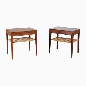 Scandinavian Rosewood & Cane Side Tables by Severin Hansen for Haslev Møbelsnedkeri, 1950s, Set of 2